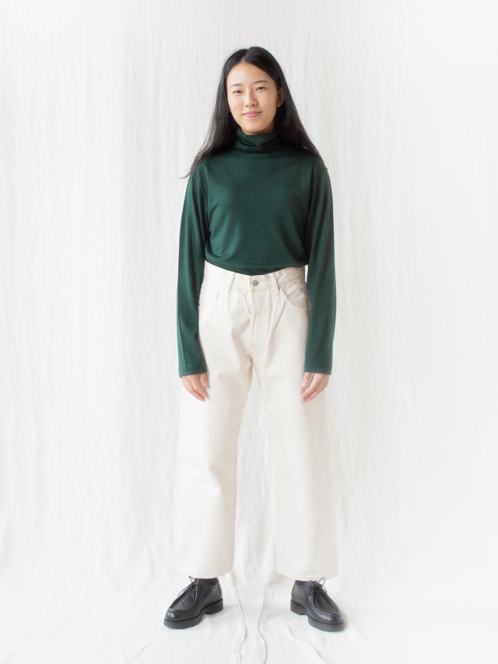 Washable High Gauge Wool Turtleneck - Green