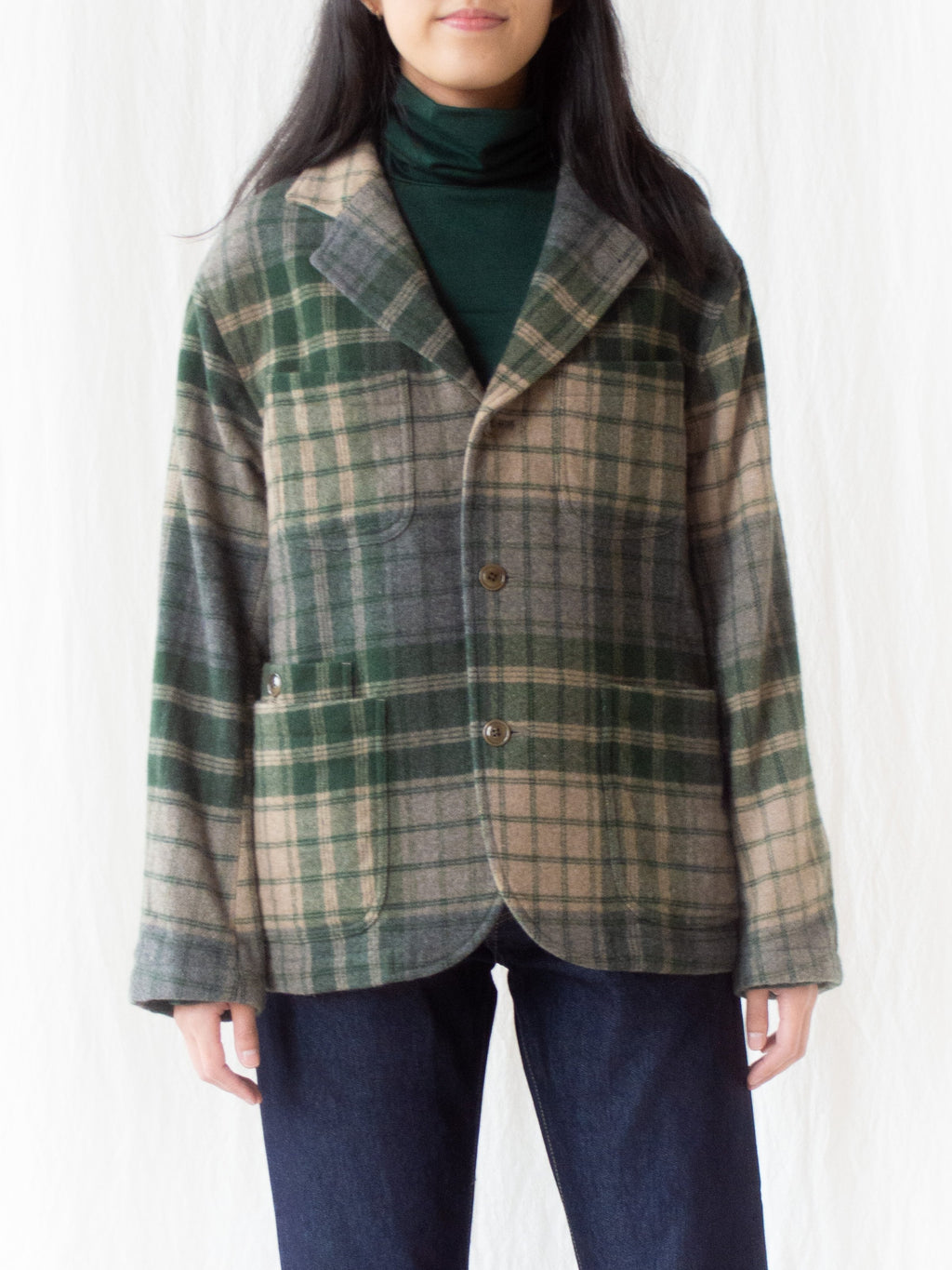 Namu Shop - ts(s) 4+1 Patch Pocket Jacket - Green/Gray Beige Wool Plaid
