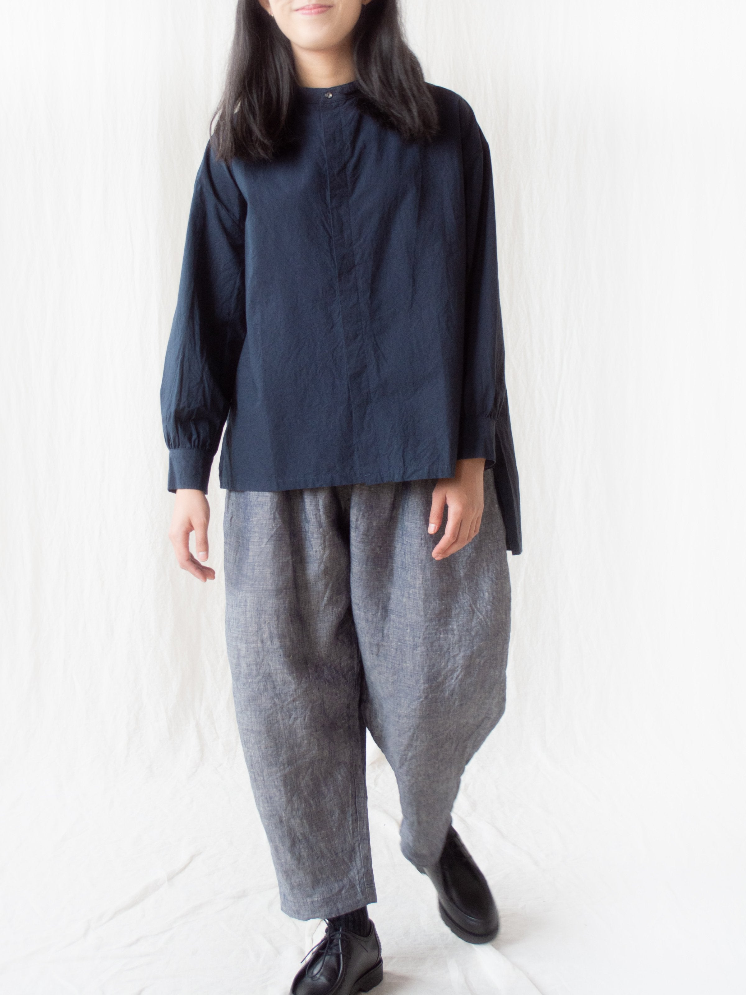 Linen Dungaree Pants - Washed Navy