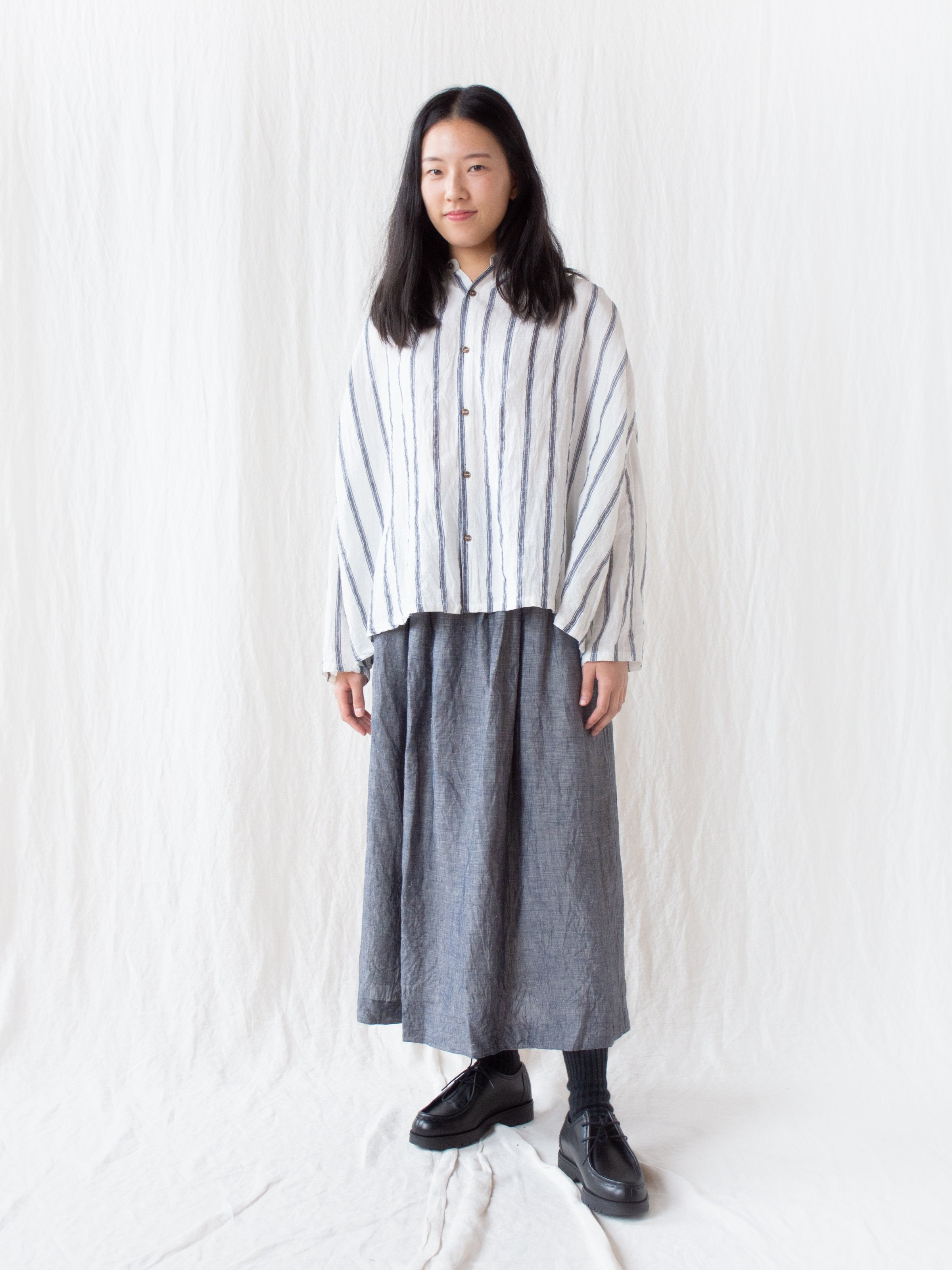 Namu Shop - Ichi Antiquites Linen Stripe Band Collar Shirt
