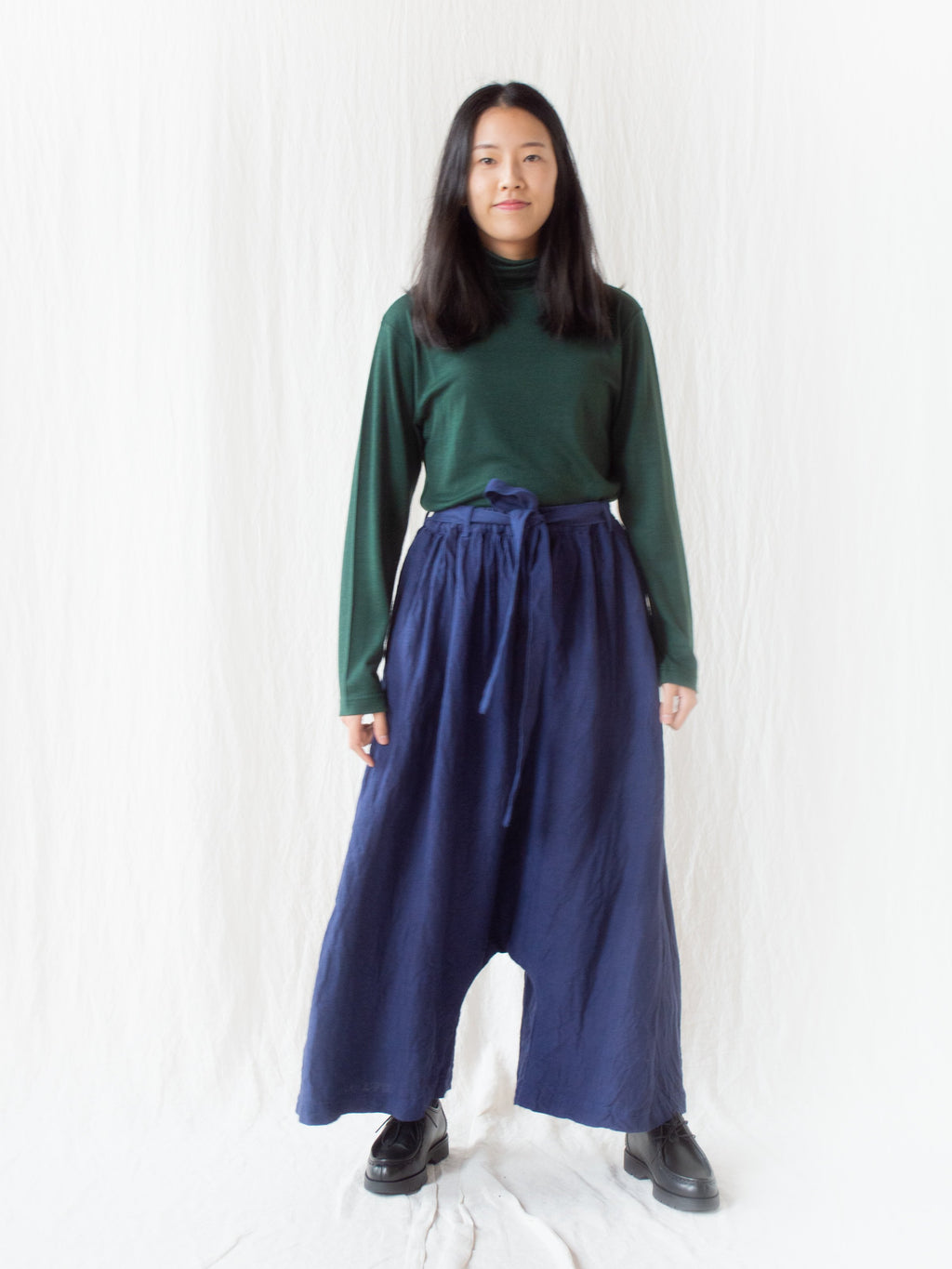 Namu Shop - Ichi Antiquites KOTOHIRADAKI Linen Pants - Blue Navy