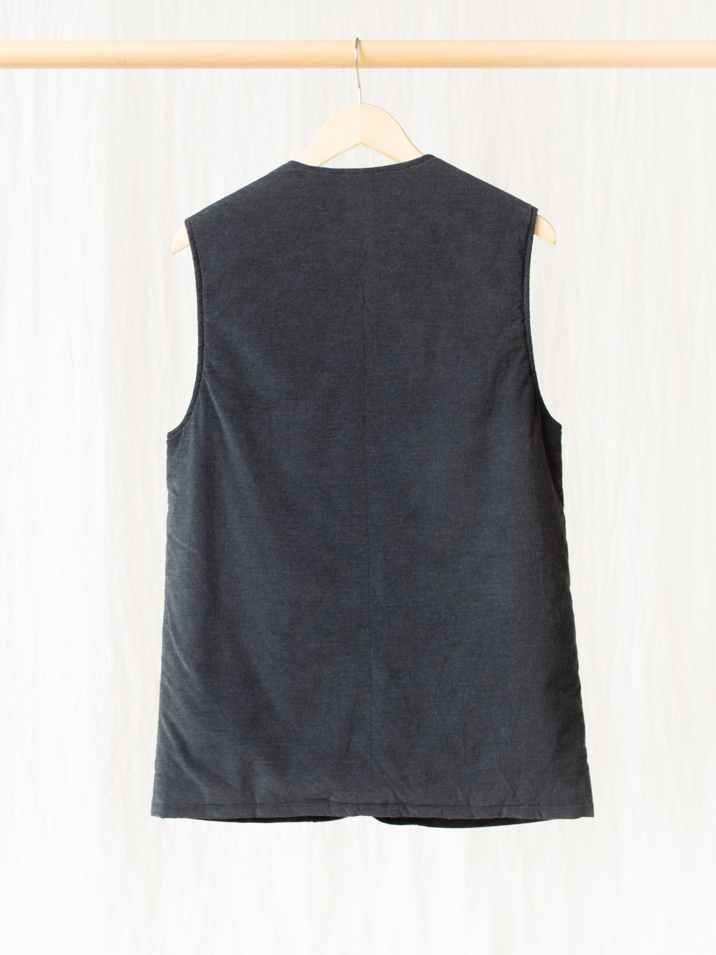 Padded Long Vest - Charcoal Corduroy Wale
