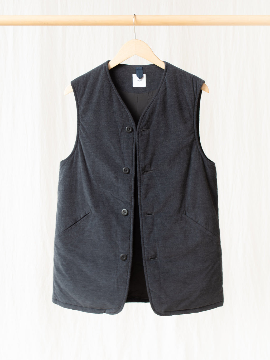Namu Shop - ts(s) Padded Long Vest - Charcoal Corduroy Wale