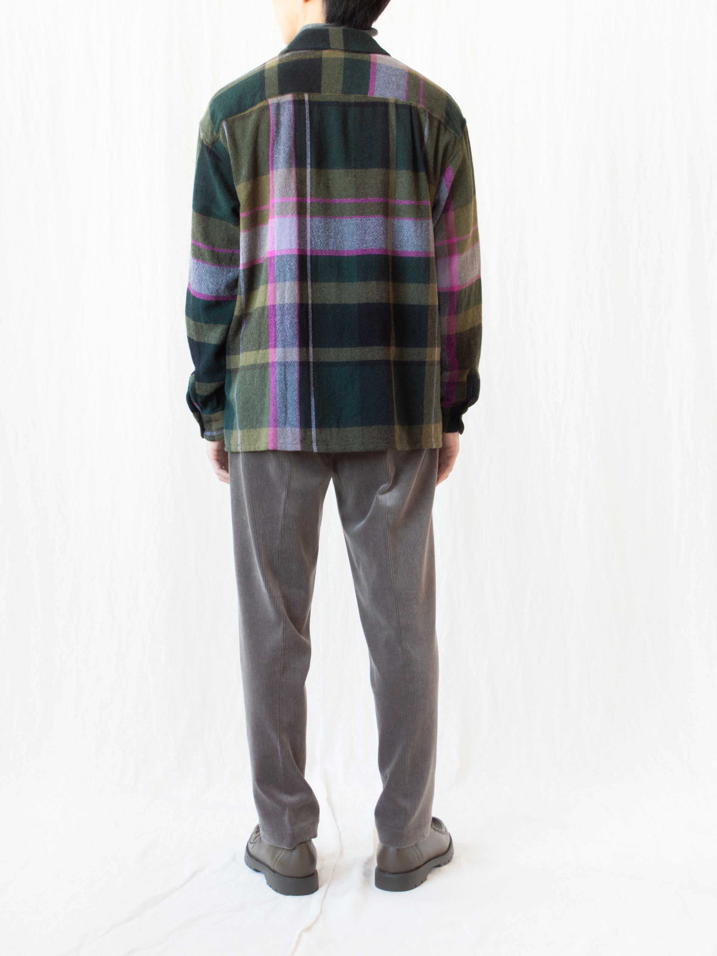 Namu Shop - ts(s) Round Flap Wool Shirt - Green Plaid