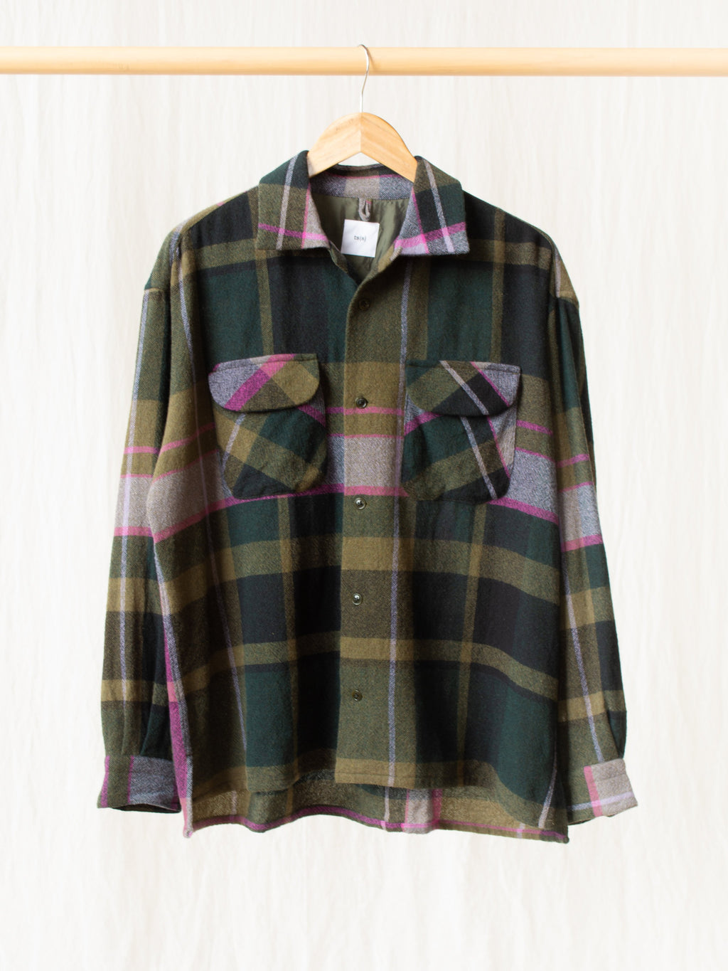 Round Flap Wool Shirt - Green Plaid