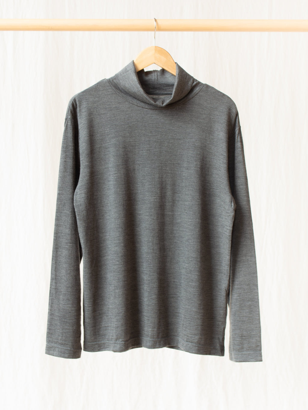 Washable High Gauge Wool Turtleneck - Gray
