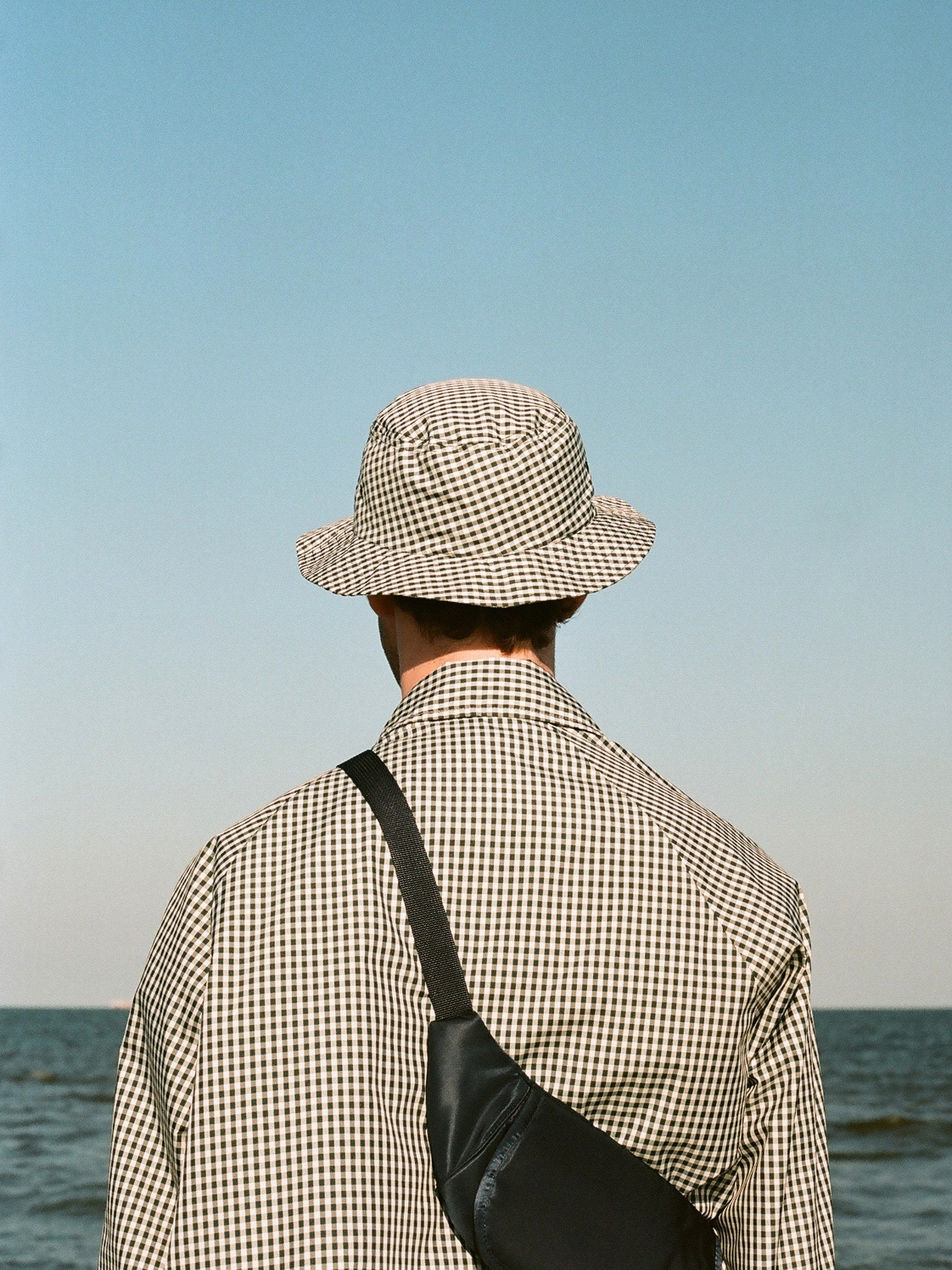 Bucket Hat One - Charcoal Gingham