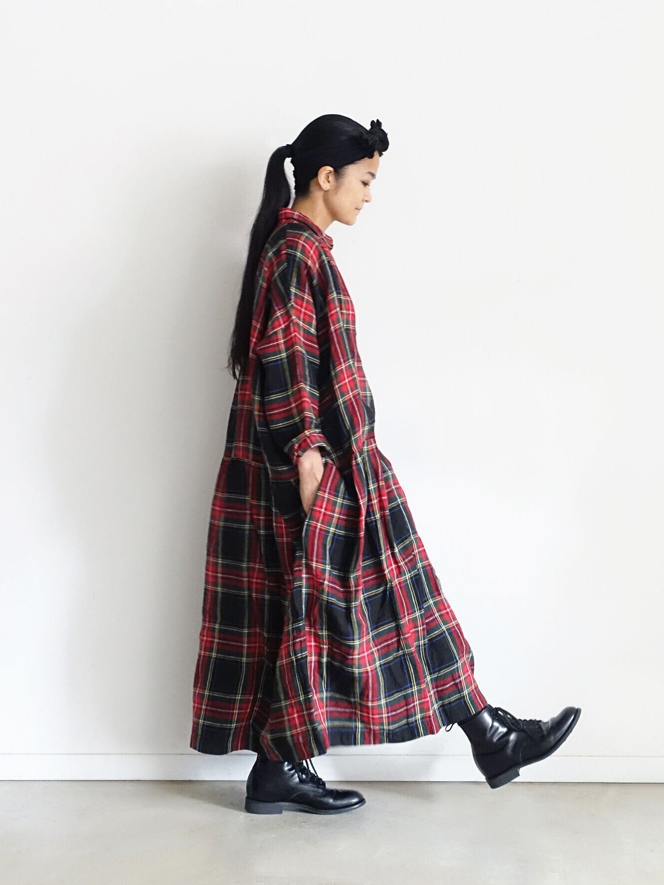 Linen Tartan Check Dress - Black