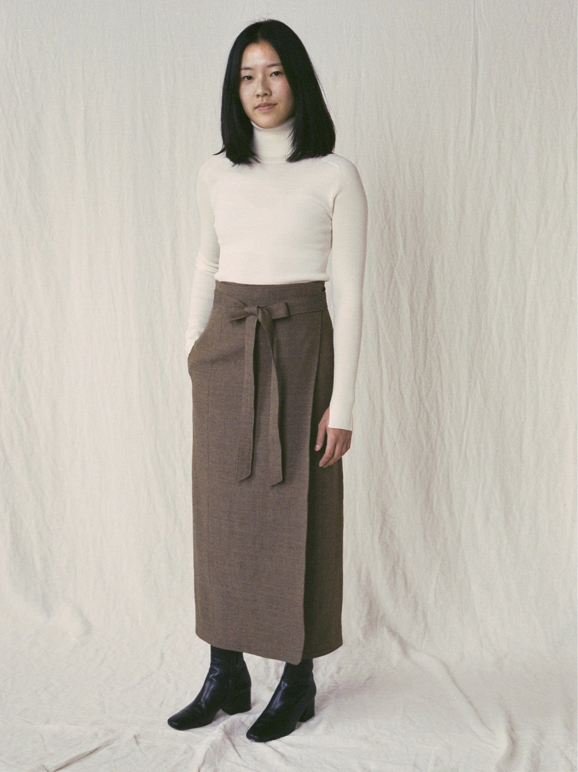 Namu Shop - Phlannel Arles Wool Linen Wrap Skirt