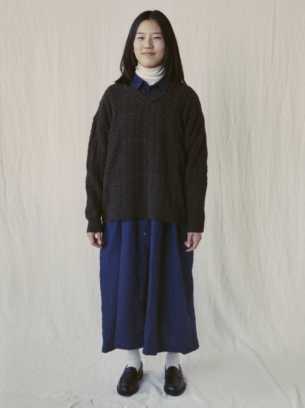 Namu Shop - Ichi Antiquites Linen Indigo Gather Dress