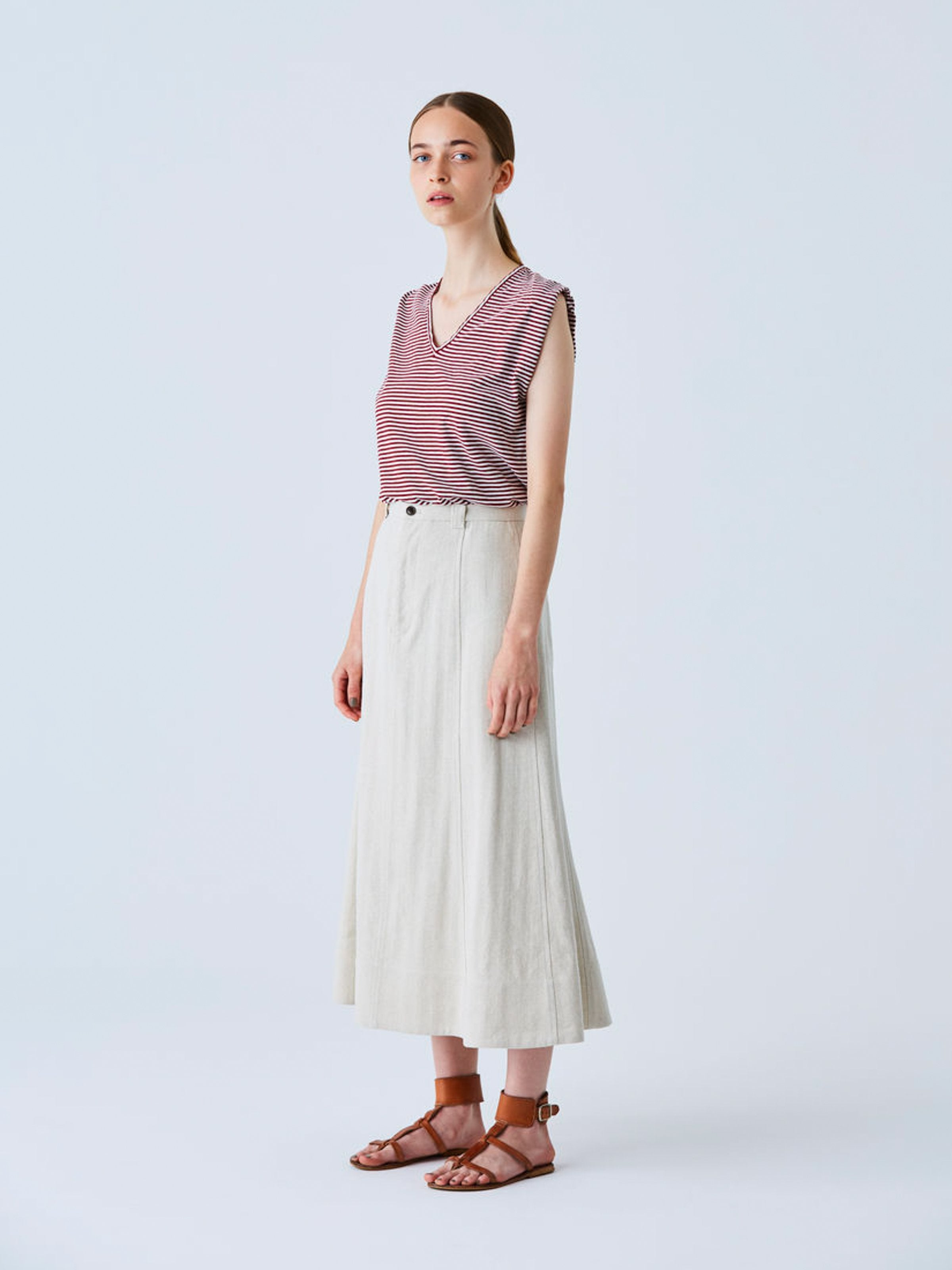 Namu Shop - Phlannel Li / Co Herringbone Semi-flared Skirt