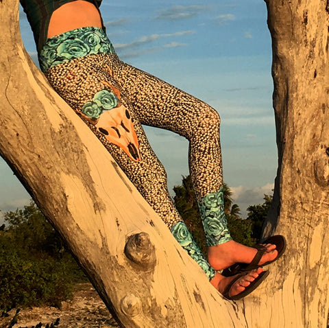 Pearls 'n' Roses Yoga Leggings by Mad Honey Studio