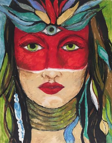 Red Goddess, Print on Paper by Mad Honey Studio