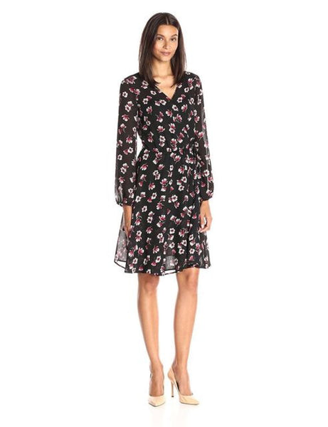 Lark & Ro Women's Printed Woven Wrap Dress, Tossed Floral, S