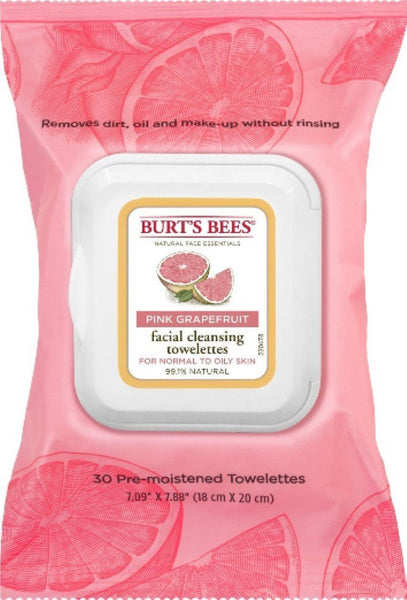 Burts Clnse Towelette Gra Size 30ct Burts Cleasing Towel Pink Grapefruit 30ct  Burt's Bees