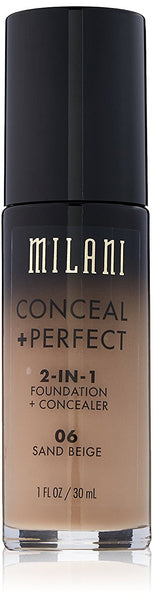 Milani Conceal + Perfect 2-in-1 Foundation Concealer, Sand Beige, 1.0 Fluid Ounce  Milani