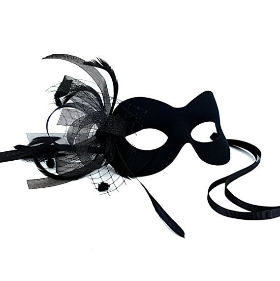 Samantha Peach Black Birdcage Veil Masquerade Mask - Exclusive Design - Mardi Gras