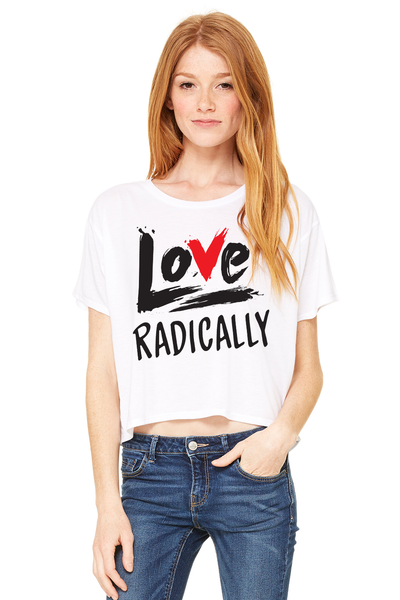LOVE RADICALLY Women's boxy cropped white T-SHIRT - The Sweeter the Tee