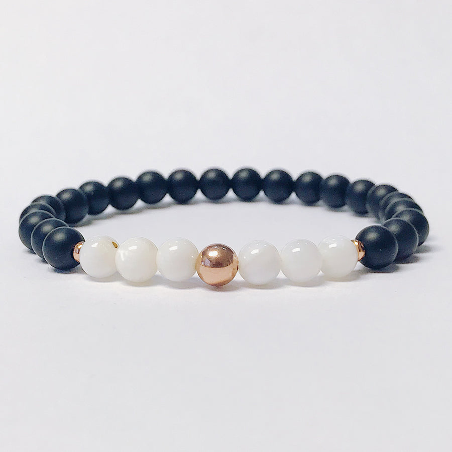 Onyx + Mother of Pearl Bracelet - Salt + Sage