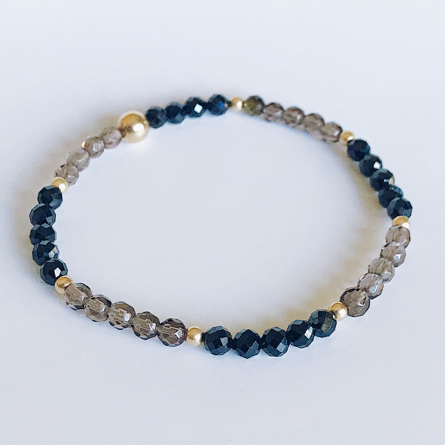 Smoky Quartz + Black Spinel Illumination Bracelet - Salt + Sage