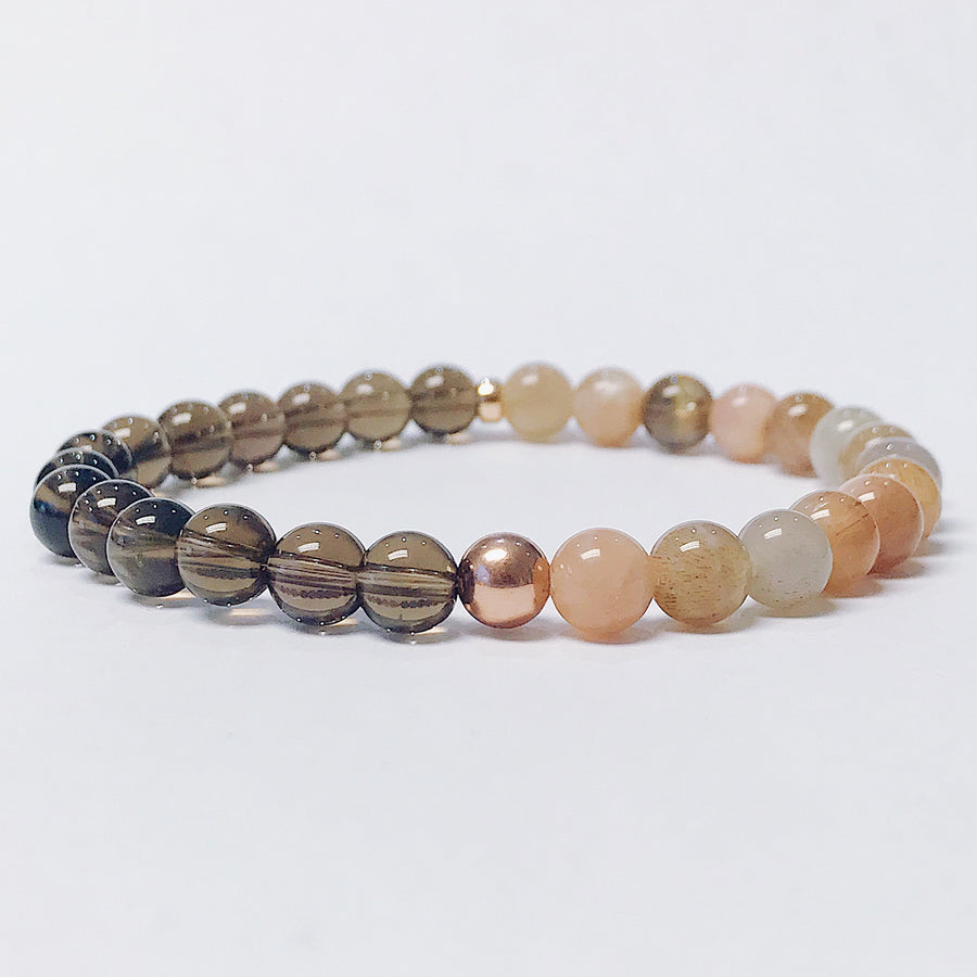 Smoky Quartz + Moonstone 6mm Duality Bracelet - Salt + Sage