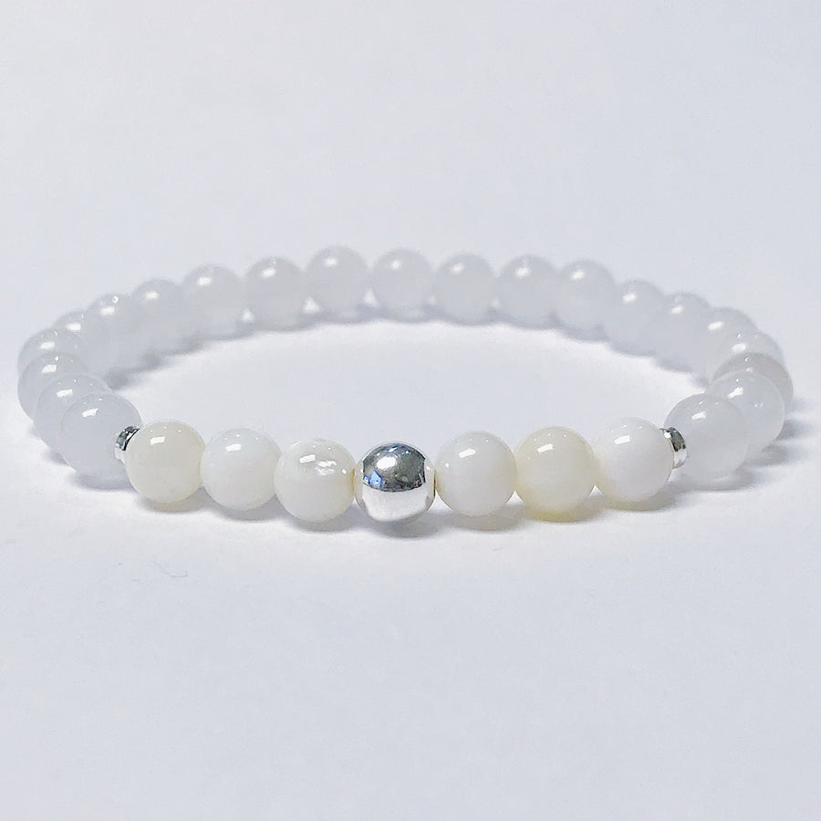 White Jade + Mother of Pearl Bracelet - Salt + Sage