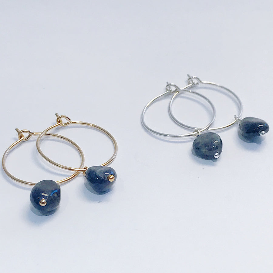 Iolite Drop Hoops - Salt + Sage