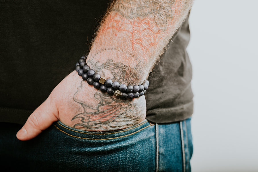 Blue Goldstone + Pyrite Mens Bracelet - Salt + Sage