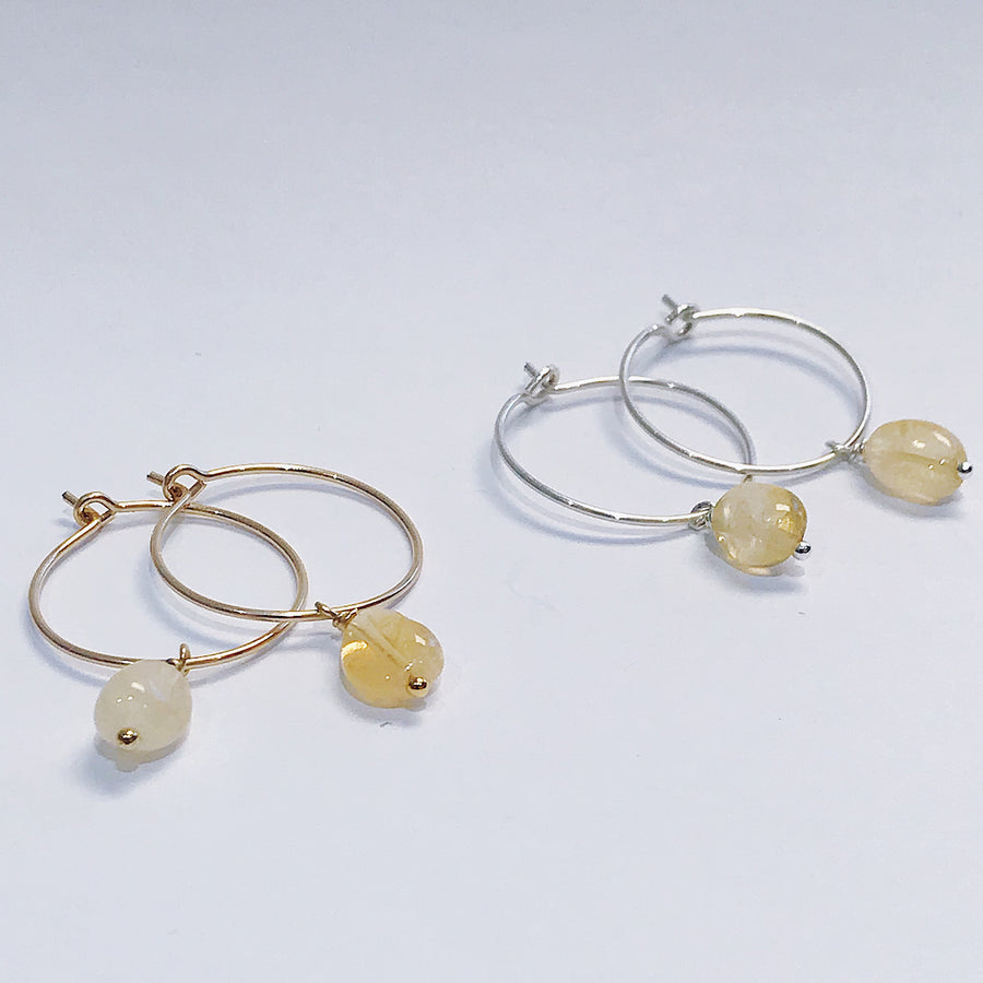 Citrine Drop Hoops - Salt + Sage