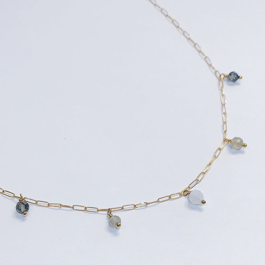 Moon Phase Drop Necklace - Salt + Sage