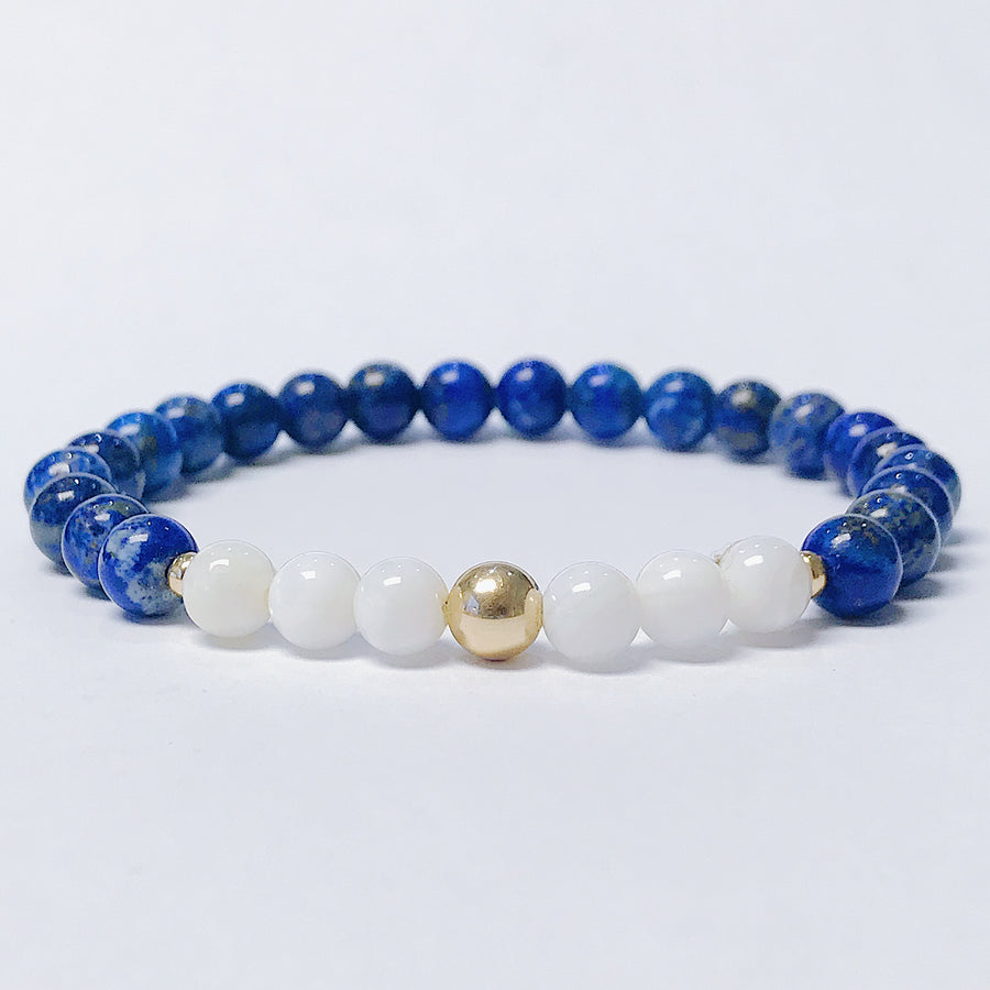 Lapis Lazuli + Mother of Pearl Bracelet - Salt + Sage