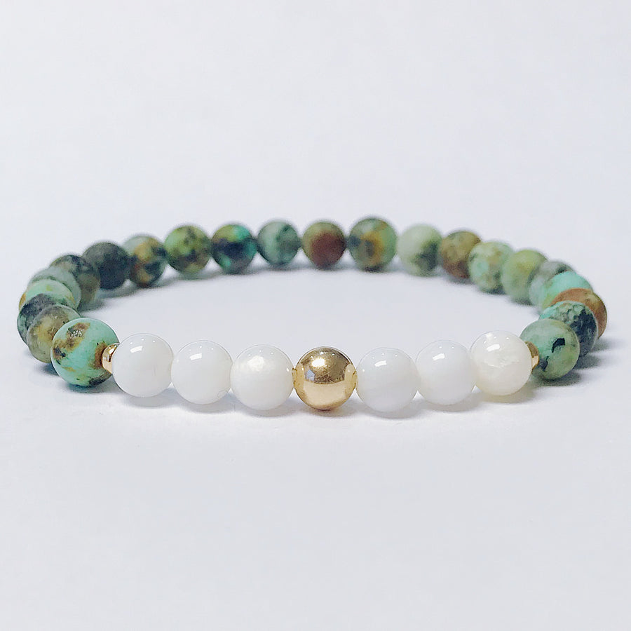 African Turquoise + Mother of Pearl Bracelet - Salt + Sage