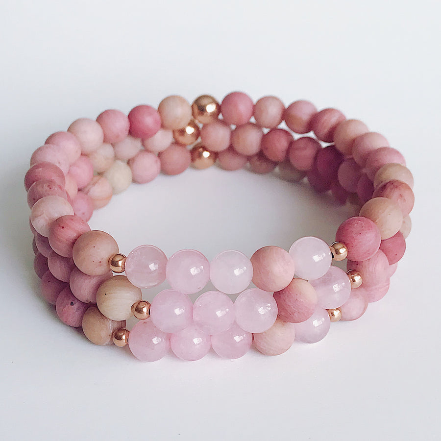 Rhodonite + Rose Quartz 6mm Bracelet - Salt + Sage
