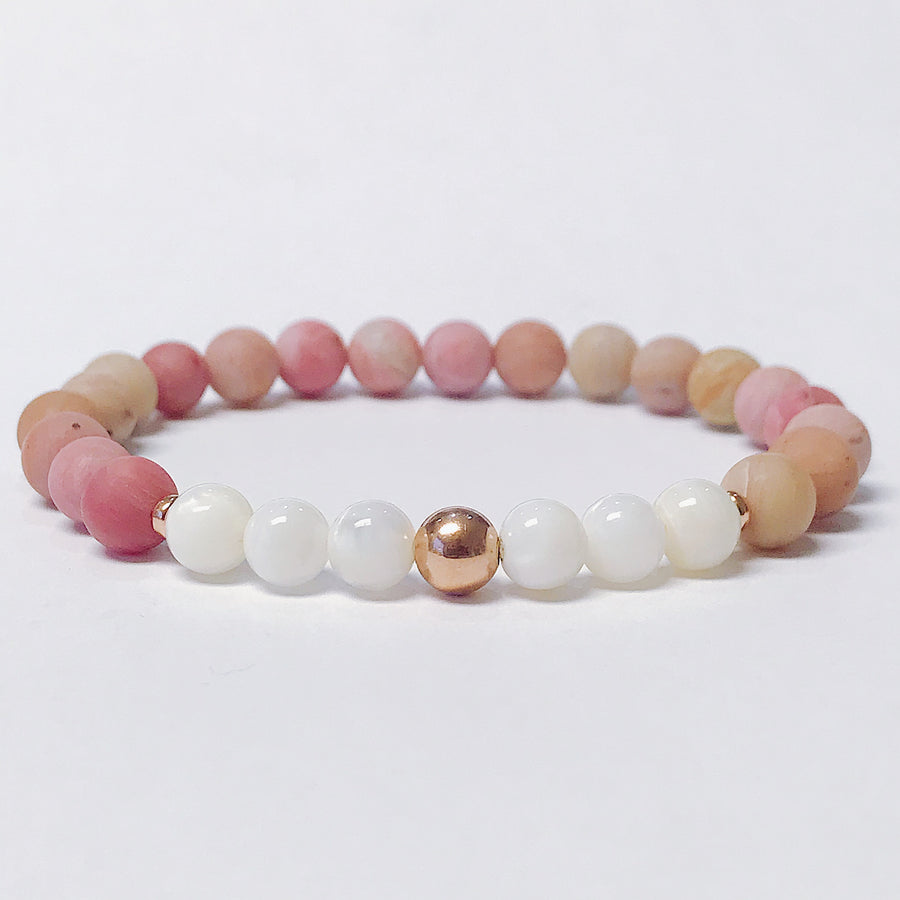 Rhodonite + Mother of Pearl Bracelet - Salt + Sage