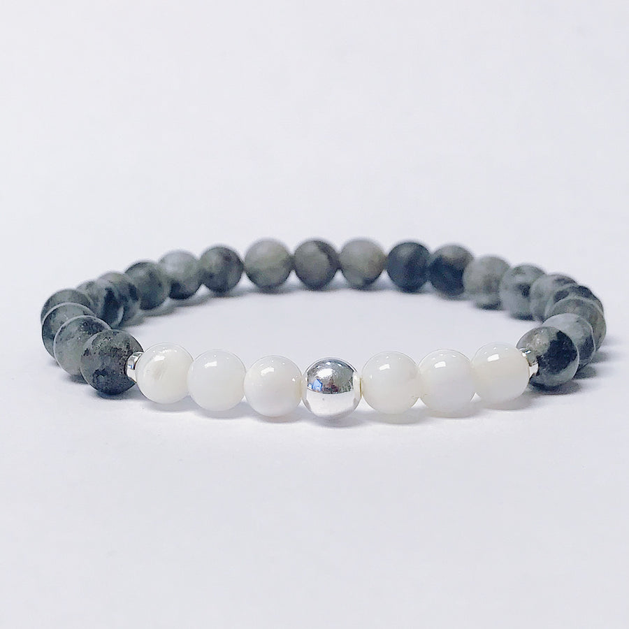 Larvikite + Mother of Pearl Bracelet - Salt + Sage