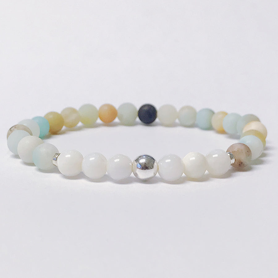 Amazonite + Mother of Pearl Bracelet - Salt + Sage