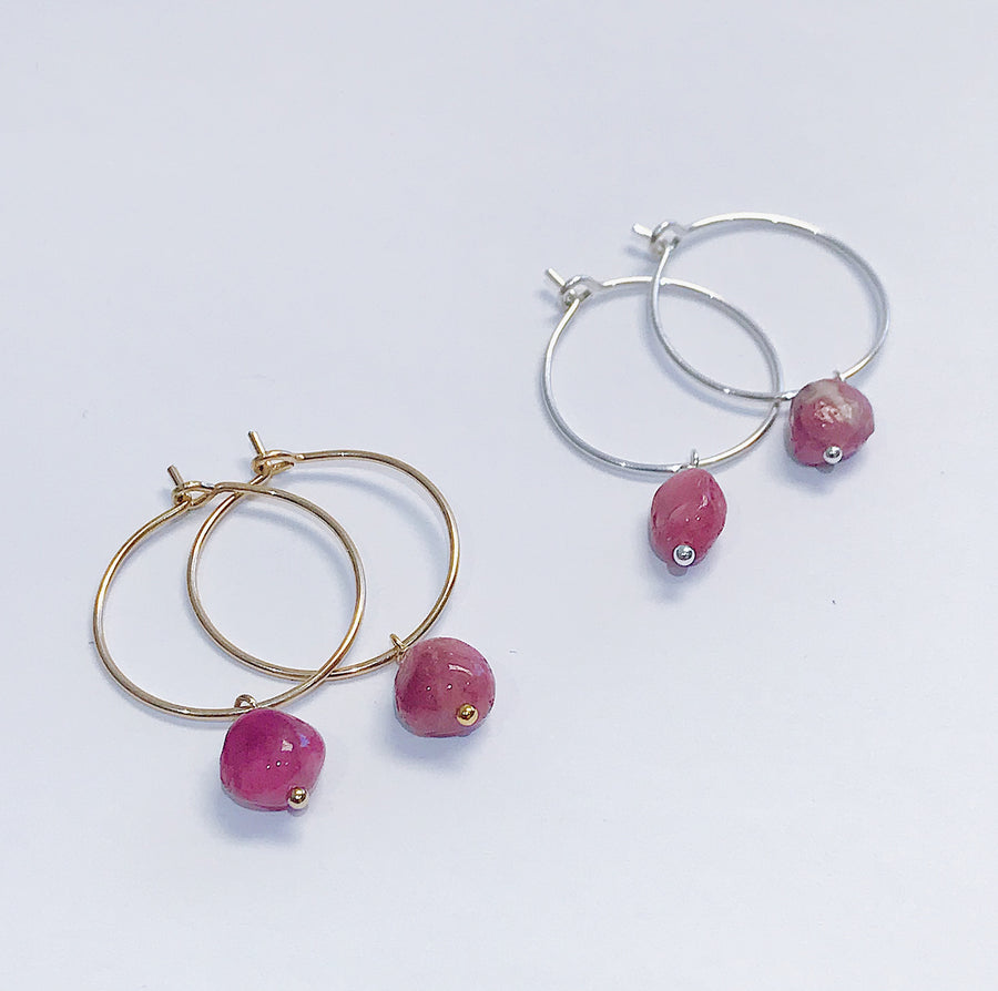 Pink Tourmaline Drop Hoops - Salt + Sage