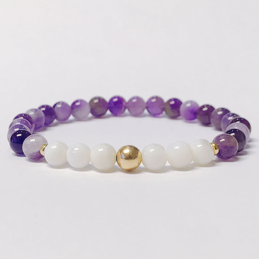 Amethyst + Mother of Pearl Bracelet - Salt + Sage