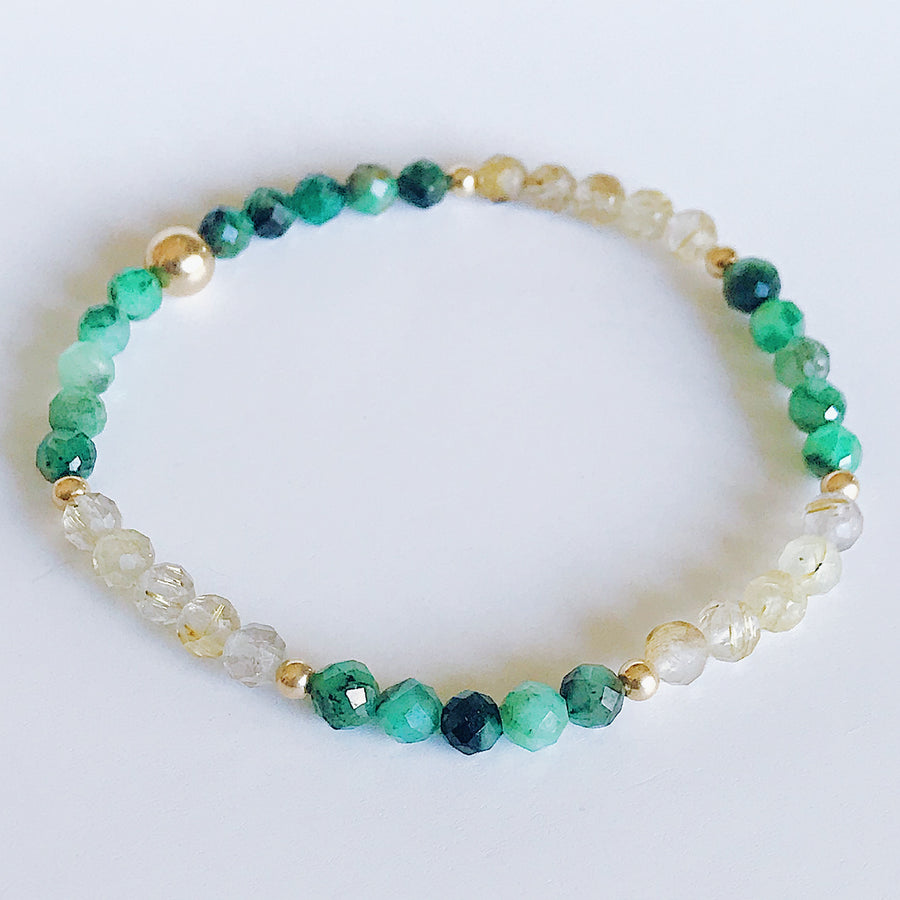 Emerald + Rutilated Quartz Illumination Bracelet - Salt + Sage