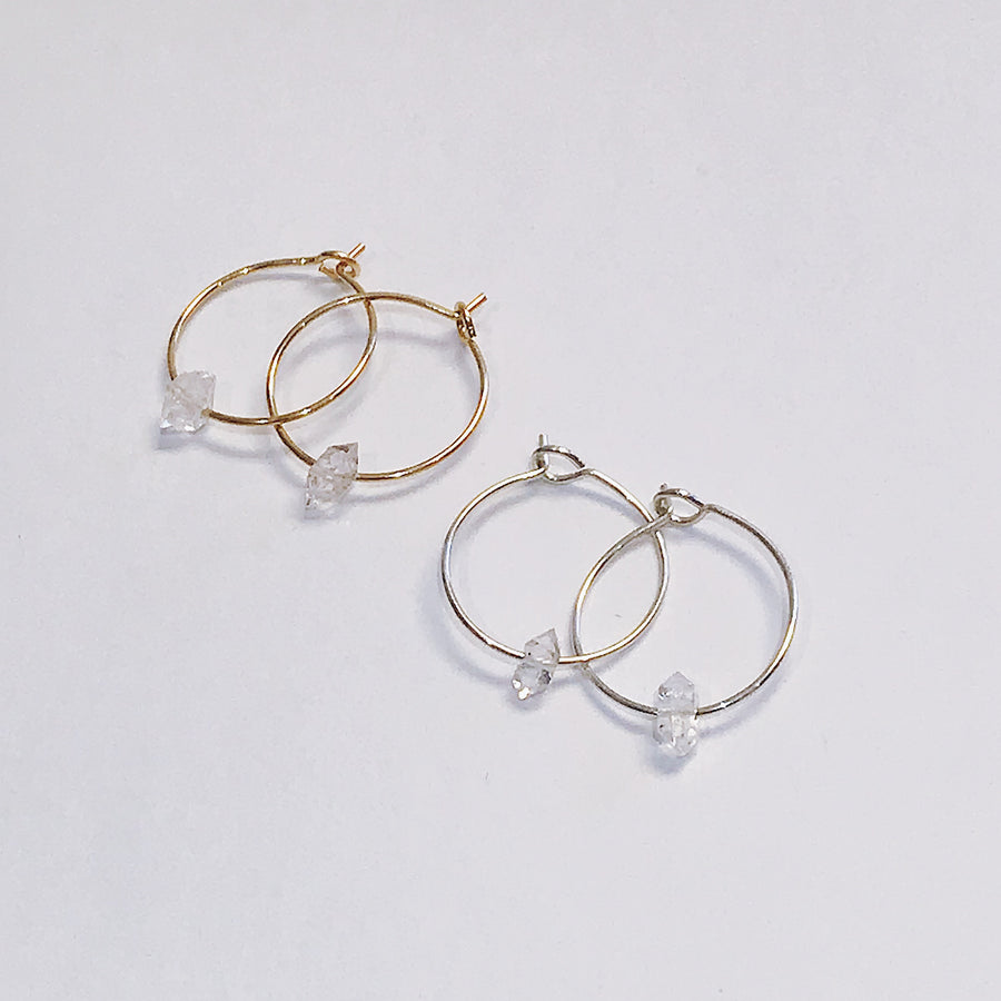 Herkimer Diamond Hoops - Salt + Sage