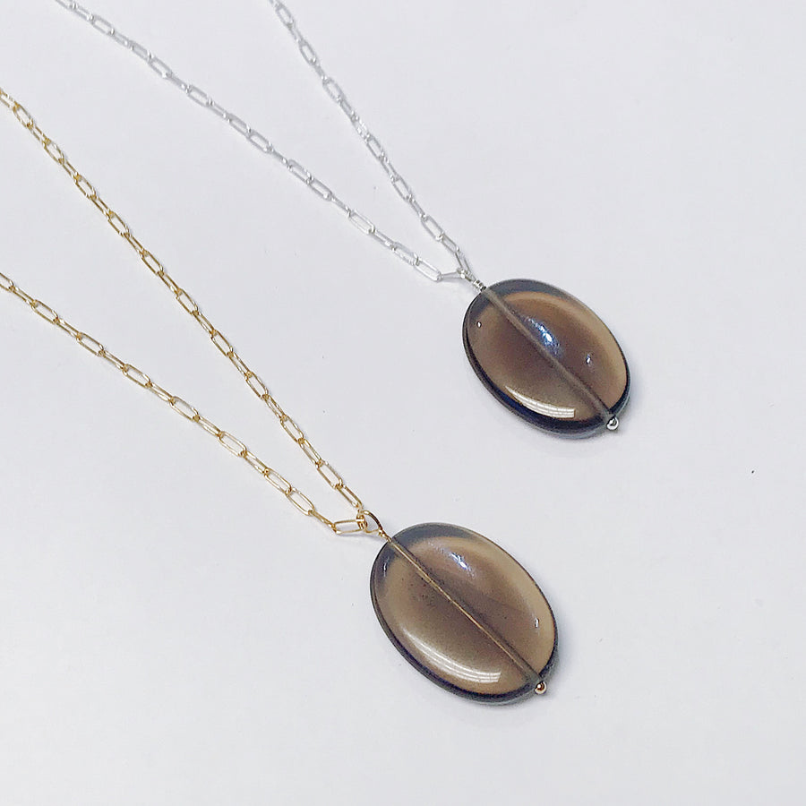 Smoky Quartz Talisman Necklace - Salt + Sage