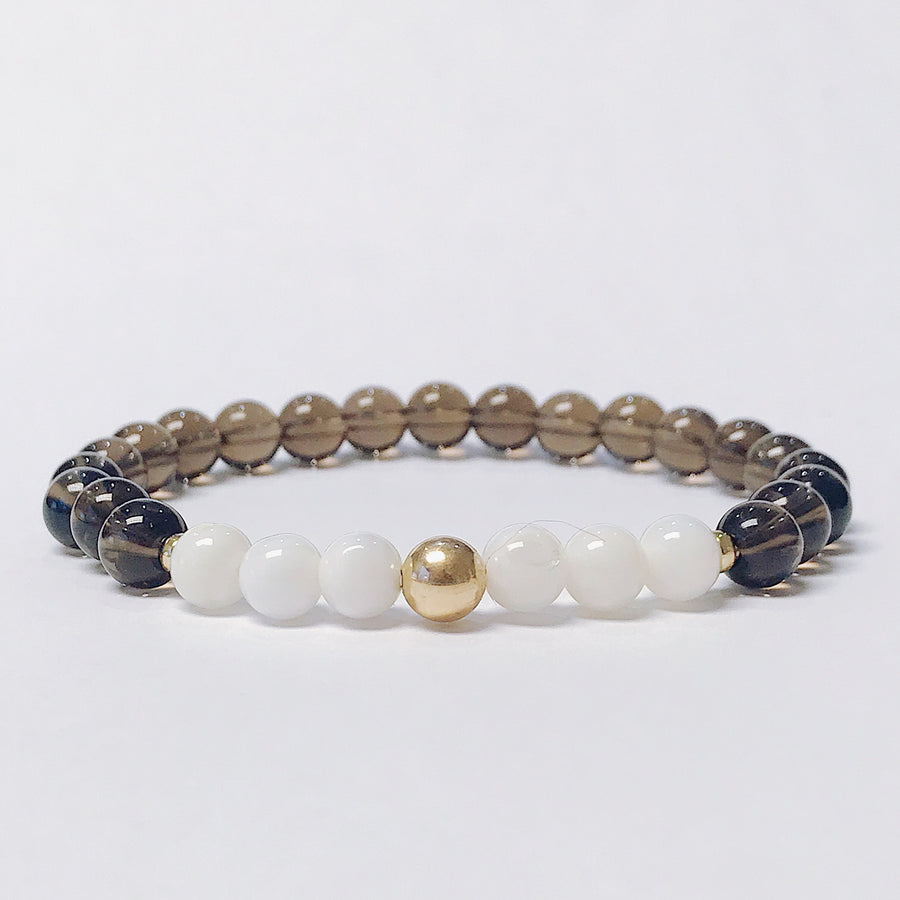 Smoky Quartz + Mother of Pearl Bracelet - Salt + Sage