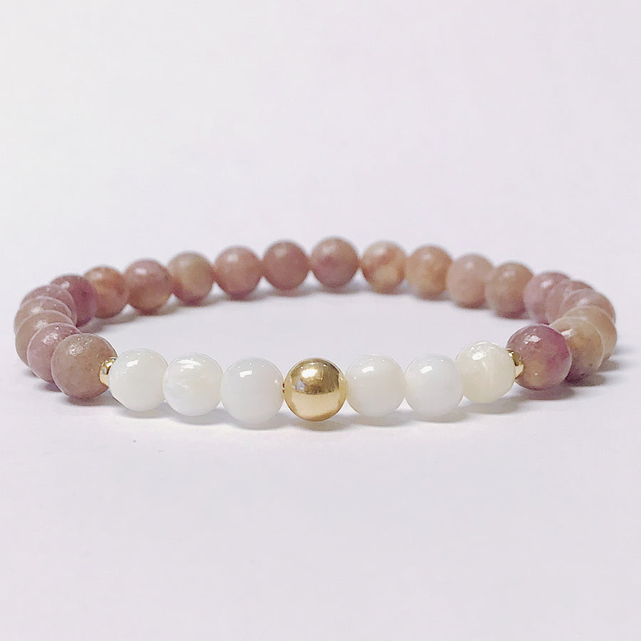 Lilac Jasper + Mother of Pearl Bracelet - Salt + Sage