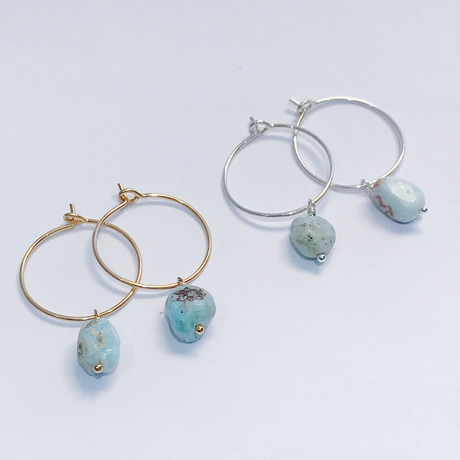 Larimar Drop Hoops - Salt + Sage
