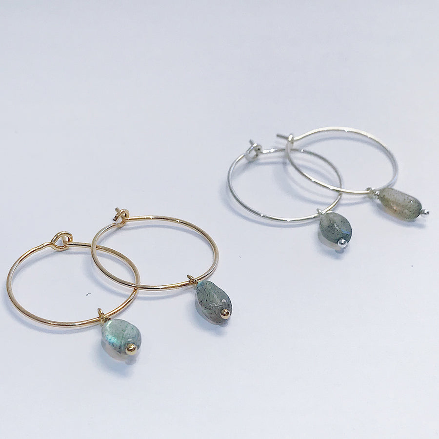 Labradorite Drop Hoops - Salt + Sage