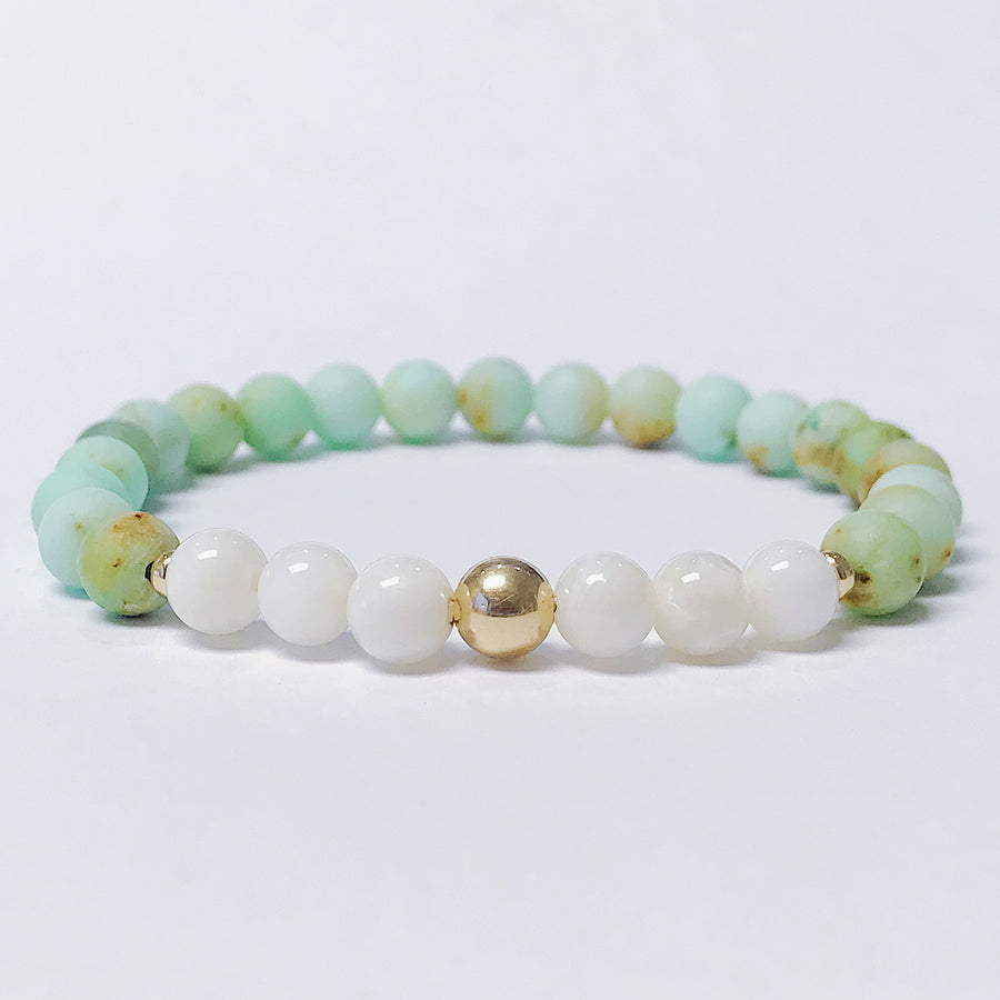 Mongolian Turquoise + Mother of Pearl Bracelet - Salt + Sage