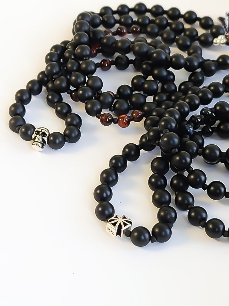 Mens Black Onyx Mala Necklace - Salt + Sage