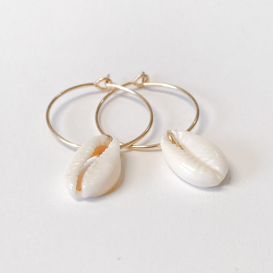 Cowrie Shell Earrings - Salt + Sage
