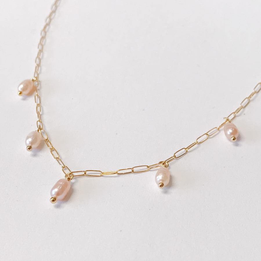 Champagne Pearl Drop Necklace - Salt + Sage