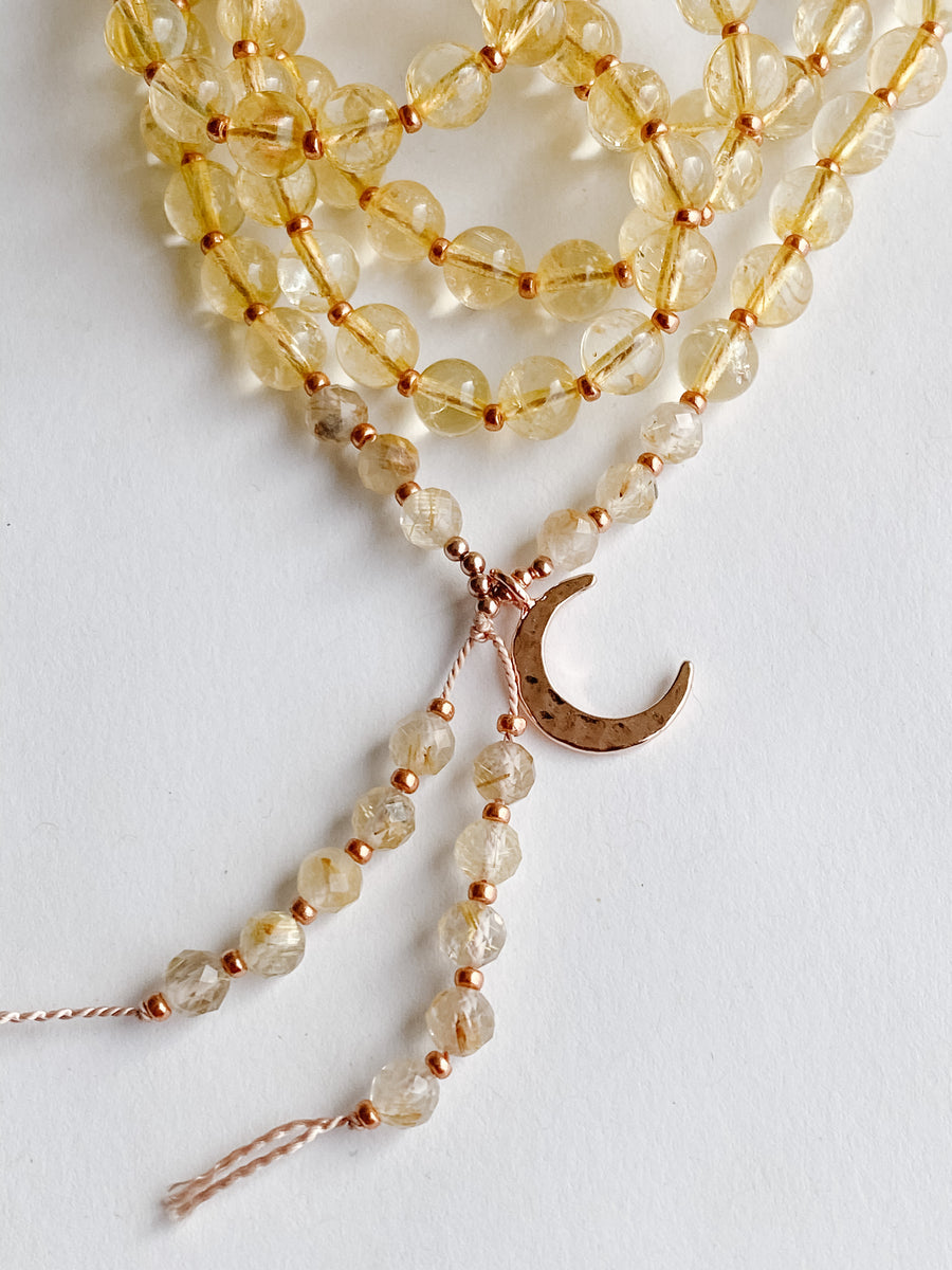 Citrine + Rutliated Quartz Mala Necklace - Salt + Sage